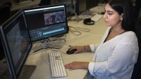 "Reaa Puri edits footage from her narrative short film ""Cycles of Lune"" in a film lab at University of California, Berkeley. Puri is both a documentary and narrative filmmaker in her last semester of studying film at UC Berkeley. Steven Ho // Xpress Magazine"