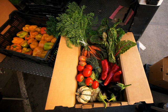 An example CSA subscription box, put together by Blue House Farms, sits on the back of their truck during a farmers market event in the Mission District. Photo by Kate O'Neal / Xpress.