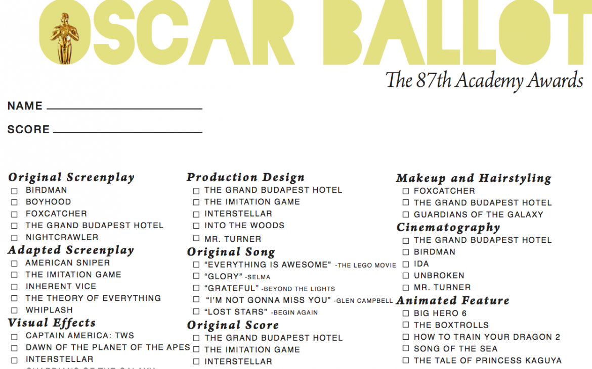 Having an Oscars party? Here's a ballot to follow along!
