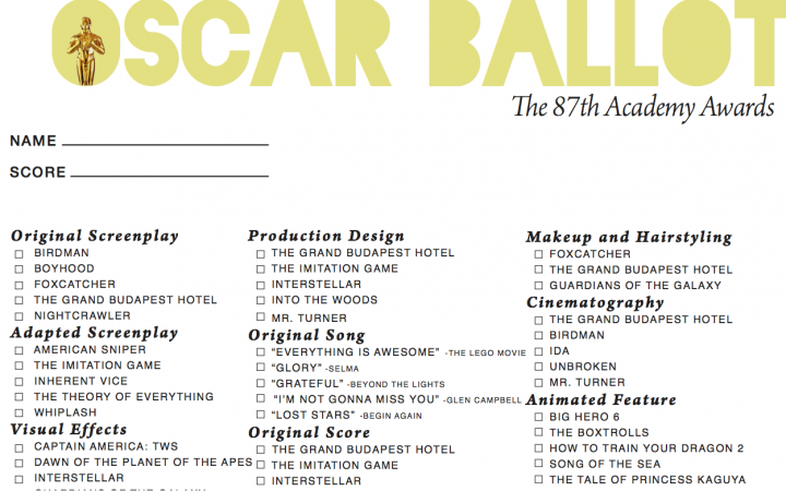Having an Oscars party? Here's a ballot to follow along!