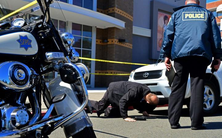 An elderly woman struck a mother and daughter in front of City Sports at the Stonestown Galleria on Wednesday afternoon in San Francisco on March 18, 2015. Photo by: Katie Lewellyn/ Xpress Magazine
