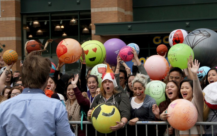 Some SF State students await with their designed Emoji balls to be seen on the Ellen DeGeneres show at Dicks Sporting Goods in Daly City on Monday, May 11. Photo by Angelica Williams/Xpress 2015).