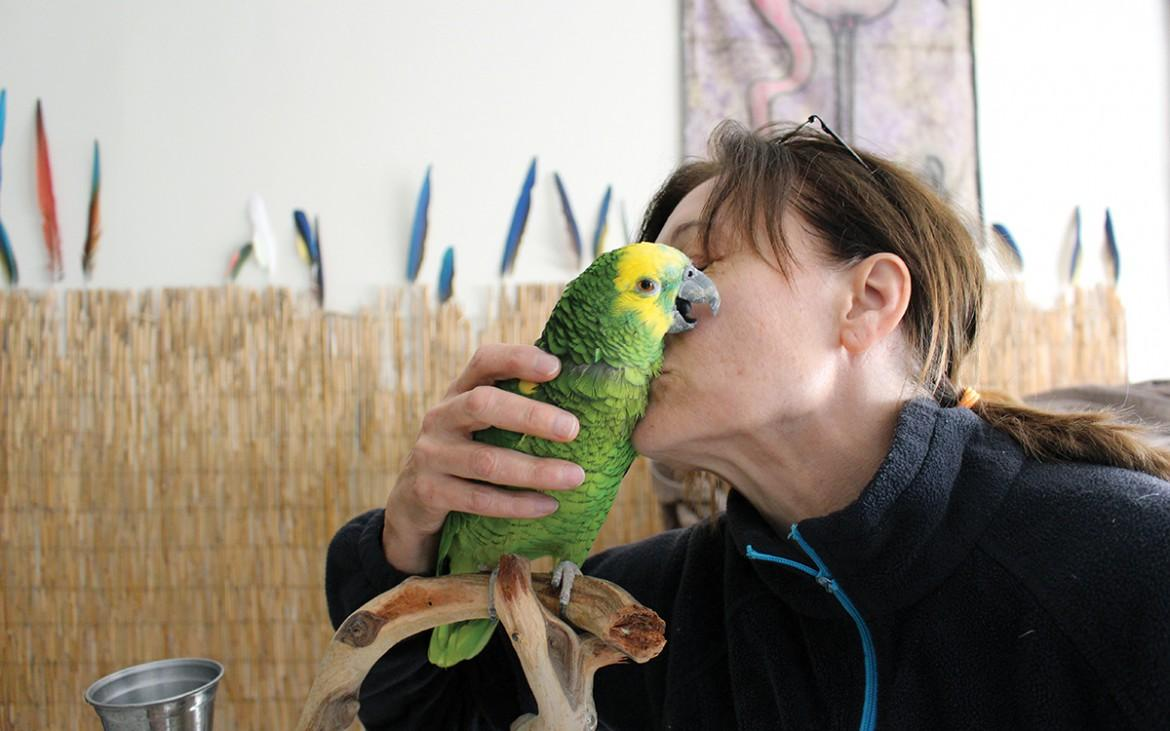 Birgit Soyka kisses Amy at the San Francisco Bird hotel Wed November 4. (James Chan/Xpress)