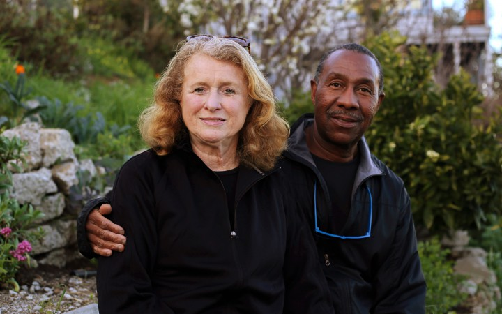 Joel and Mary McClure pose for a photo near their designated spot in the Brigdeview Community Teaching and Learning Garden in the Bayview District in San Francisco, CA on on Saturday February 20, 2016. (Aleah Fajardo/Xpress)