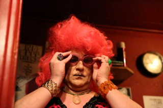 Collette LeGrand-Ashton changes outfits in the backroom of Aunt Charlie's Lounge in preparation to perform her number with the Hot Boxxx Girls in Tenderloin on Saturday March 26, 2016. (Xpress/ Aleah Fajardo)