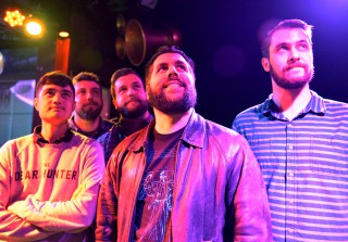 """From left: Ricky Marasigan-keyboard, Zach Rice-guitar, Nick Redmond-vocals, Justin Vanegas-bass, and Jason Bolich-drums, who are band members of """"Septacy,"""" pose for a portrait before their show at Monarch in San Francisco, Friday, Feb.19. (Photo/Qing Huang)"""
