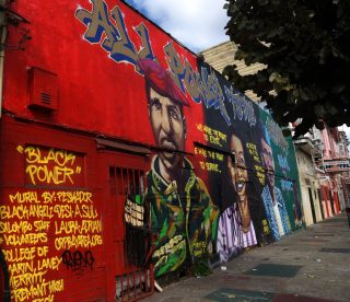 The mural of HipHopForChange Inc. at Oakland, San Francisco, CA. taken on Tuesday, Sept. 13, 2016. (Perng-chih Huang/Xpress)