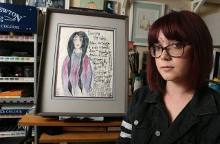 Amanda Campbell in her home studio. A lot of Amanda's art reflects her struggles with depression and anxiety. Aleah Fajardo/ Xpress