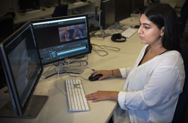 Reaa Puri edits footage from her narrative short film