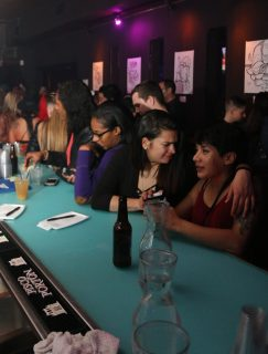 Women met at Club F8 as part of an event put on by Uhaul SF in San Francisco on Friday Nov. 18, 2016. This party was put on by Uhaul SF who put on parties for