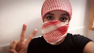 Yen Avery, a San Francisco native, poses for a self-portrait that she hopes will portray a positive image of Palestinian culture.