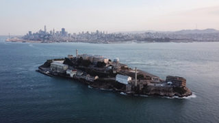 Alcatraz Island makes an appearance in the absence of fog during sunset in San Francisco on Monday, Oct. 9, 2017. (Travis Wesley/Golden Gate Xpress)