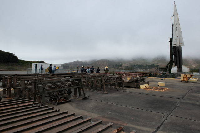The Nike-Hercules Warhead is been shown to the tour group at San Francisco Nike Missile Site SF-88 National Park in Marin Highlands with her fellow graduate students on Friday, Sept. 14. (David Rodriguez/Golden Gate Xpress)