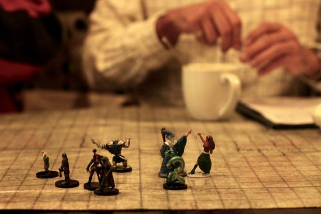 Dungeons and Dragons character miniatures, called