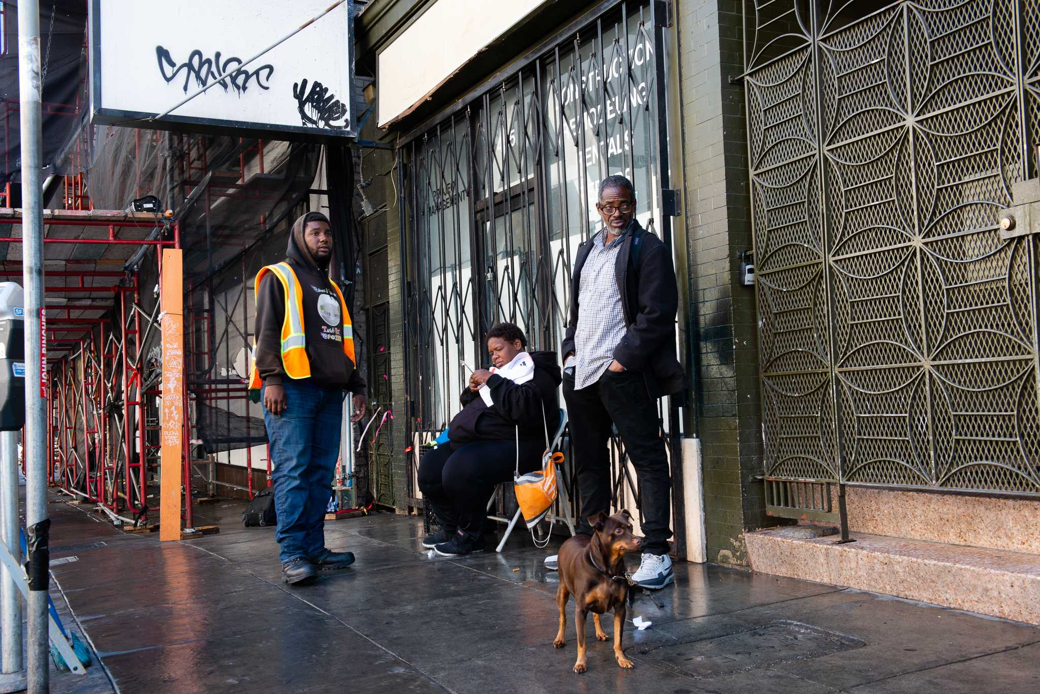 SF State student Eugene Riley, 25, talks to an old friend Bubbles, middle, a friend that he met while he was living in the streets of San Francisco on Saturday, Sept. 15, 2018. (David Rodriguez/Xpress)