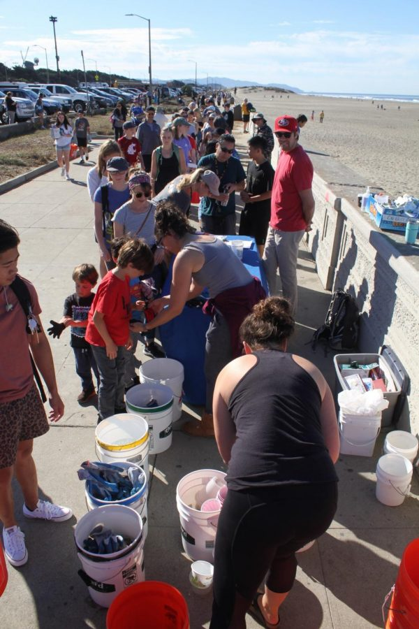 The line trailing off into the distance was attracting people who were not aware of the Surfrider beach cleanup in San Francisco on Oct. 6, 2019