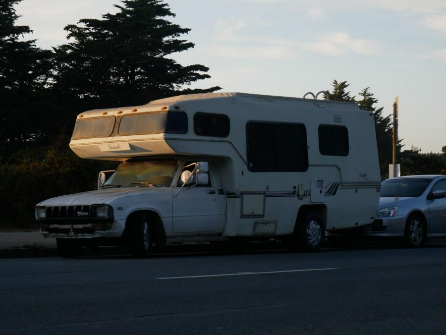 An RV is parked on Lake Merced Boulevard in San Francisco, California.