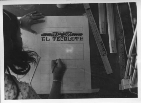An El Tecolote staffer works on the front page, circa 1970s