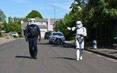 Stormtrooper Craig Gaylord joined Police Officer Kenny Ferrigno from the Santa Rosa Police Department to model proper social distancing and encourage residents to wear appropriate face coverings in public