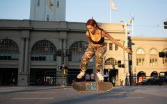 Kat Campos kickflips at Harry Bridges Plaza on Sep. 30, 2020. San Francisco. (Sean Reyes / Xpress Magazine)
