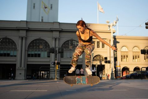 Kat Campos kickflips at Harry Bridges Plaza on Sep. 30, 2020. San Francisco. (Sean Reyes / Xpress Magazine)