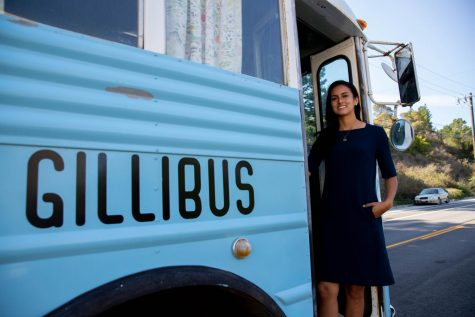 Jackie Fielder started using Gillibus to campaign in August as an alternative to expensive billboard advertising. On Election Day, Fielder and her volunteers rode the bus to landmark spots around San Francisco to interact with constituents. (Saylor Nedelman / Xpress Magazine)